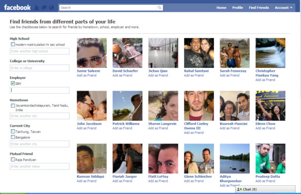 Facebook Friend Search and Friend Browser (login required)